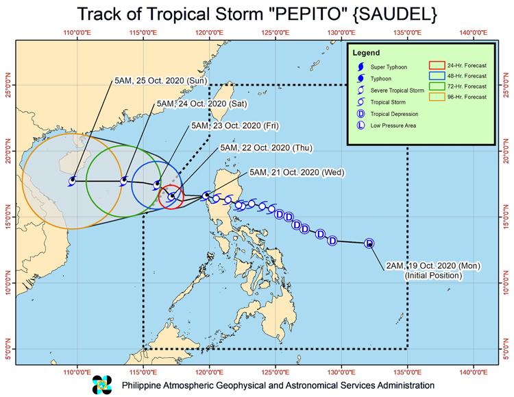Dự báo đường đi của bão Saudel trong những ngày tới. Đồ họa: PAGASA.