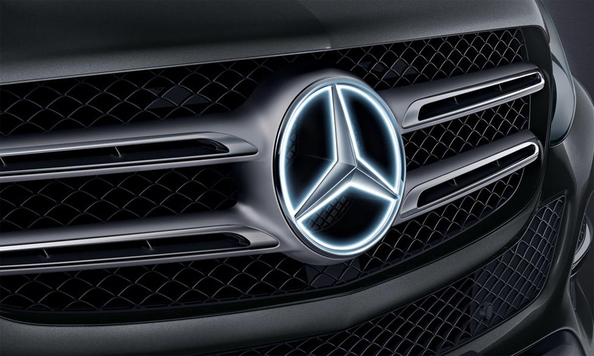 Logo ngôi sao ba cánh phát sáng trên GLC. Ảnh: Mercedes