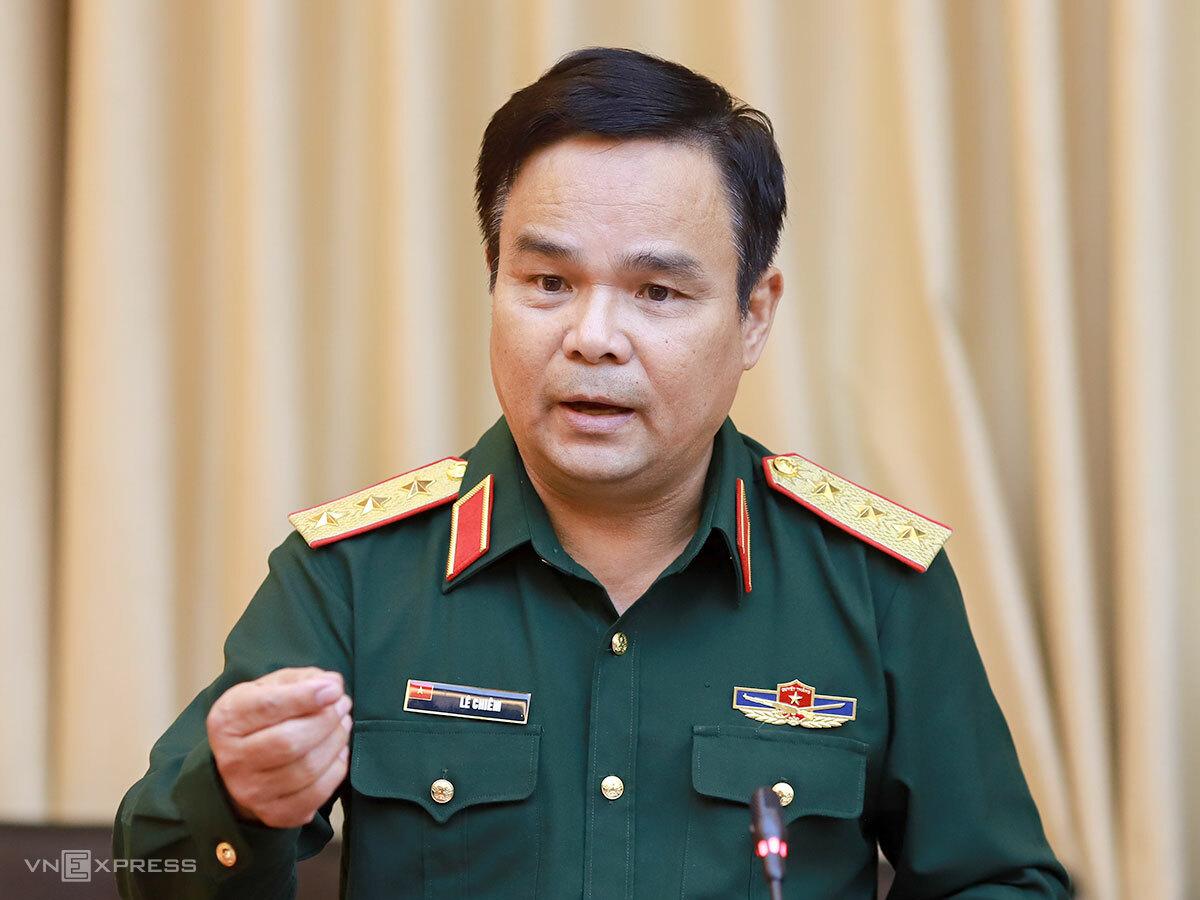 Thượng tướng Lê Chiêm - Thứ trưởng Bộ Quốc phòng tại buổi làm việc ngày 22/10. Ảnh: Nguyễn Đông.