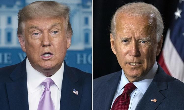 Tổng thống Mỹ Donald Trump (trái) và ứng viên tổng thống đảng Dân chủ Joe Biden. Ảnh: Los Angeles Times.