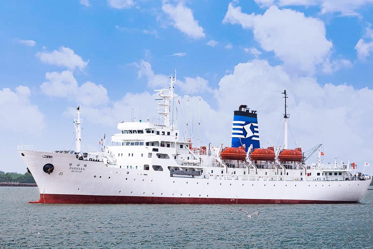 Ngay sau khi được Chính phủ Hàn Quốc viện trợ tàu Hannara, Trường đại học Hàng hải Việt Nam tiếp nhận, đưa tàu vào neo đậu tại cảng MPC Port, Đình Vũ (Hải Phòng). Ảnh: HH