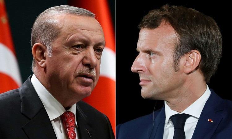 Tổng thống Thổ Nhĩ Kỳ Recep Erdogan và Tổng thống Pháp Emmanuel Macron. Ảnh: AFP.