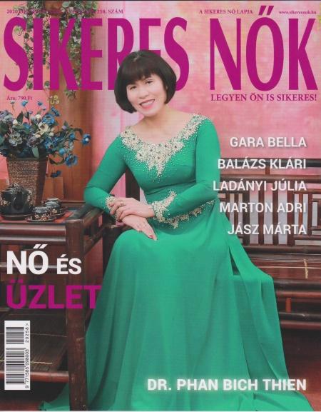 Trang bìa tháng 10 của Tạp chí Phụ nữ Thành đạt, Hungary, giới thiệu chị Phan Bích Thiện. Ảnh: Nhân vật cung cấp.