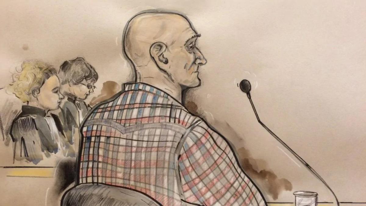 Jos de G được họa sĩ phòng xử án vẽ lại khi xuất hiện tại tòa. Ảnh: rtlnieuws.