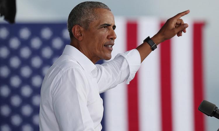 Cựu tổng thống Mỹ Barack Obama phát biểu tại buổi vận động tranh cử tại Miamia, Florida, ngày 24/10. Ảnh: AFP.