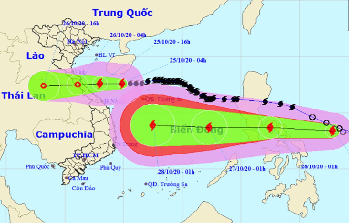 Hướng di chuyển của bão Saudel và bão Molave. Ảnh:NCHMF.
