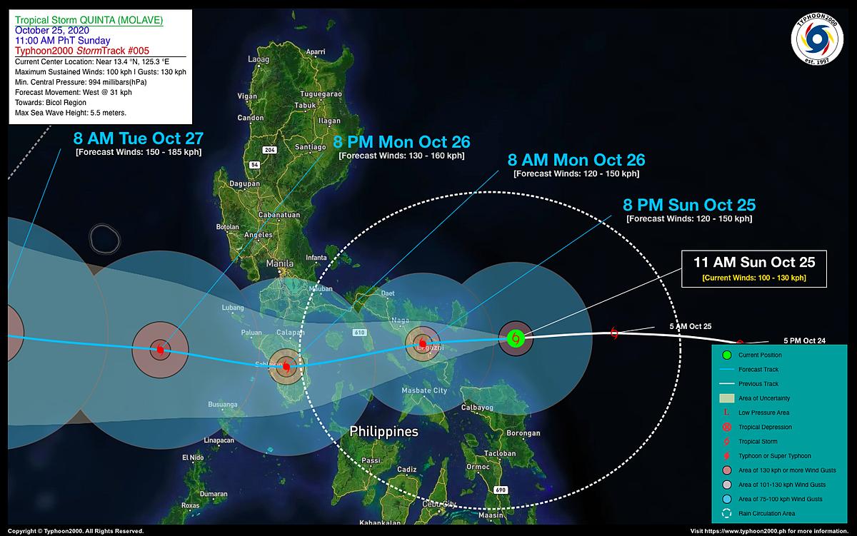Đường đi của bão Molave khi quét qua miền trung Philipines. Ảnh: Typhoon2000.