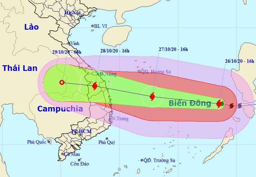 Đường đi của bão số 9 theo bản tin dự báo của Trung tâm dự báo khí tượng thủy văn quốc gia lúc 17h ngày 26/10. Ảnh: NCHMF.