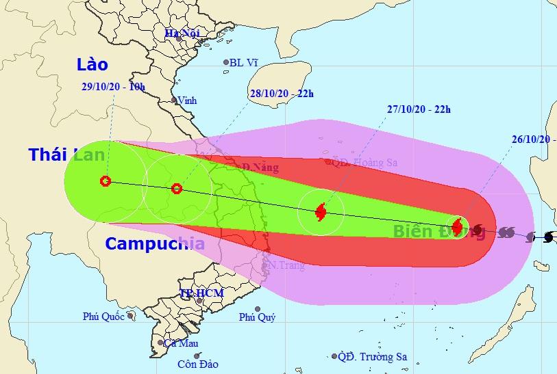 Đường đi của bão số 9 theo bản tin dự báo của Trung tâm dự báo khí tượng thủy văn quốc gia lúc 23h ngày 26/10. Ảnh:NCHMF.