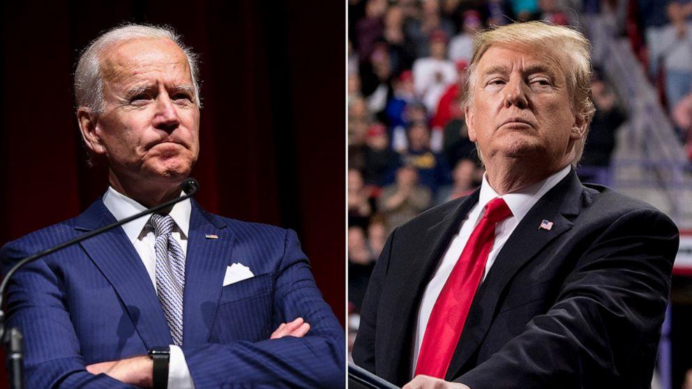 Tổng thống Trump (phải) và ứng viên đảng Dân chủ Joe Biden. Ảnh: AP/AFP.