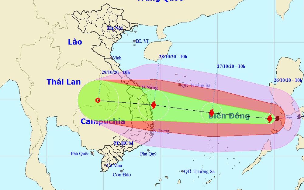 Dự báo đường đi và khu vực ảnh hưởng của bão Molave. Ảnh: NCHMF