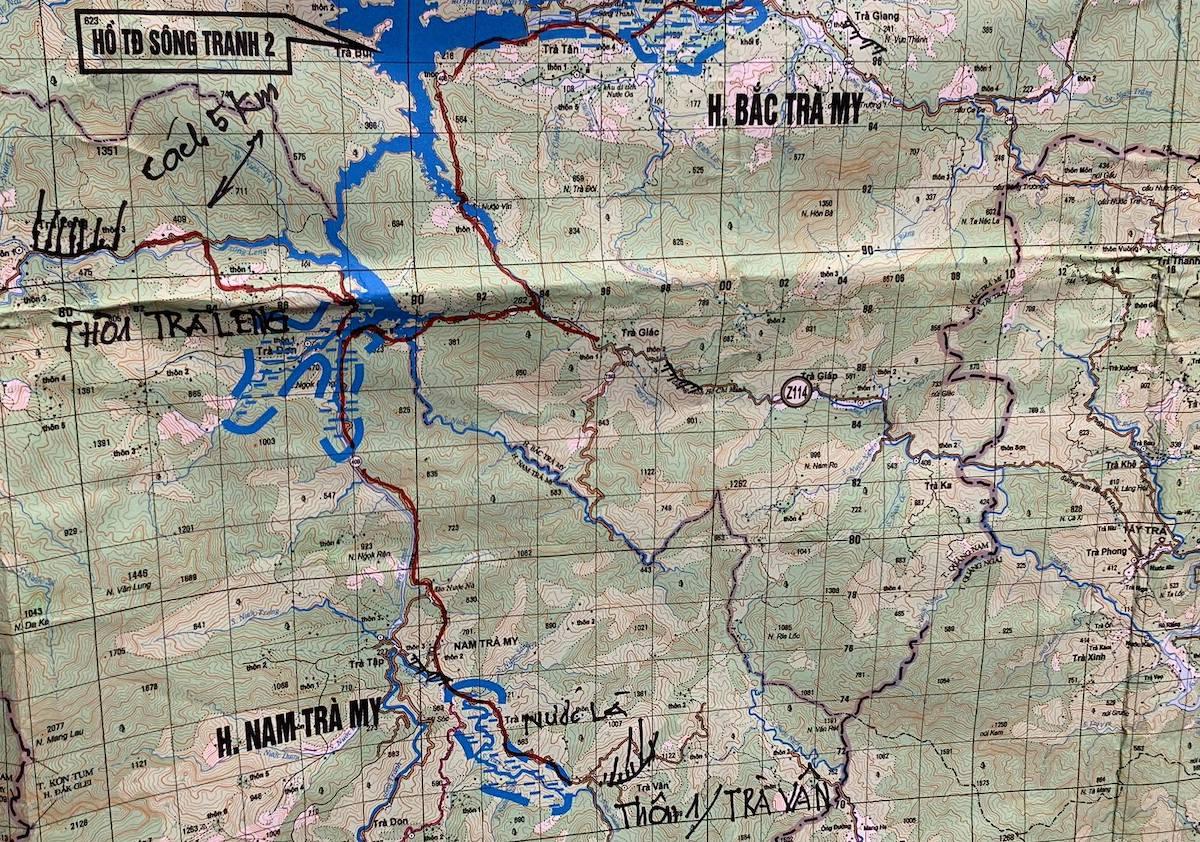 Bản đồ xã Trà Leng và xã Trà Vân, huyện Nam Trà My.