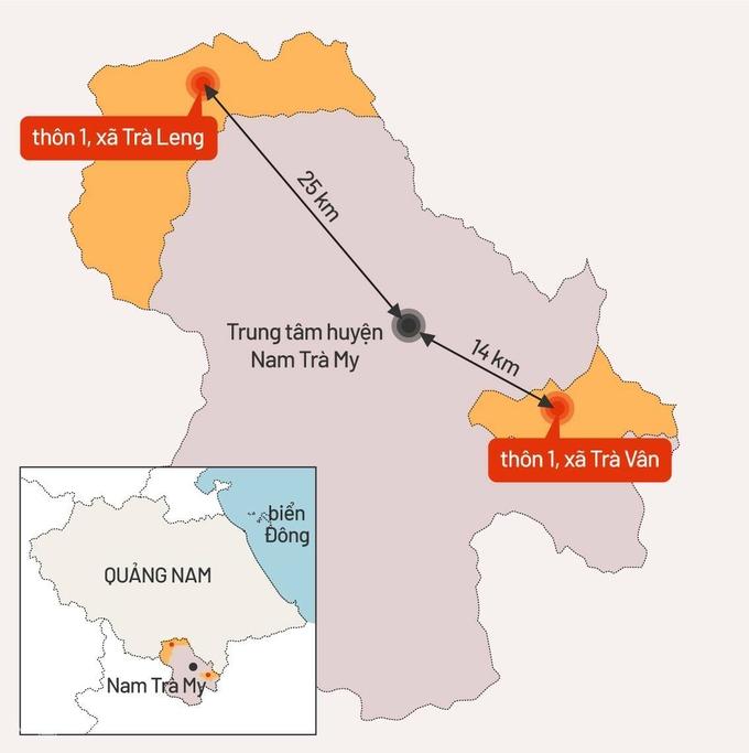 Bản đồ hai vị trí xảy ra sạt lở đất vùi lấp nhiều nguoiwf ở huyện Nam Trà My. Đồ họa: Tiến Thành