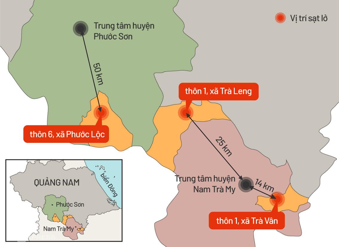 Các vị trí sạt lở đất, vùi lấp nhiều người ở Nam Trà My và Phước Sơn. Đồ họa:Tiến Thành