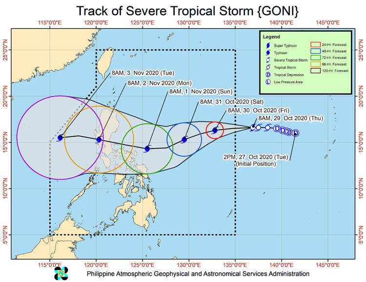 Dự báo đường đi của bão Goni tính đến trưa 29/10. Đồ họa: PAGASA.
