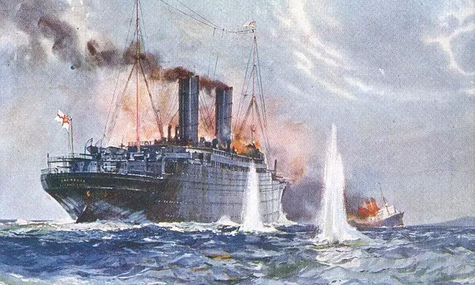 Tranh vẽ mô tả trận hải chiến giữa tàu Anh và Đức. Ảnh: Wikimedia.