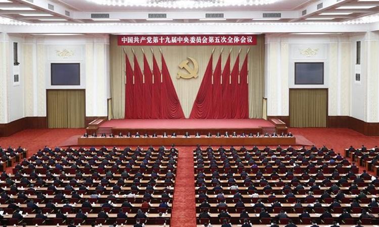 Hội nghị toàn thể lần thứ năm của Ban Chấp hành Trung ương đảng Cộng sản Trung Quốc (CPC) lần thứ 19 tại Bắc Kinh từ ngày 26/10 đến 29/10. Ảnh: Xinhua.