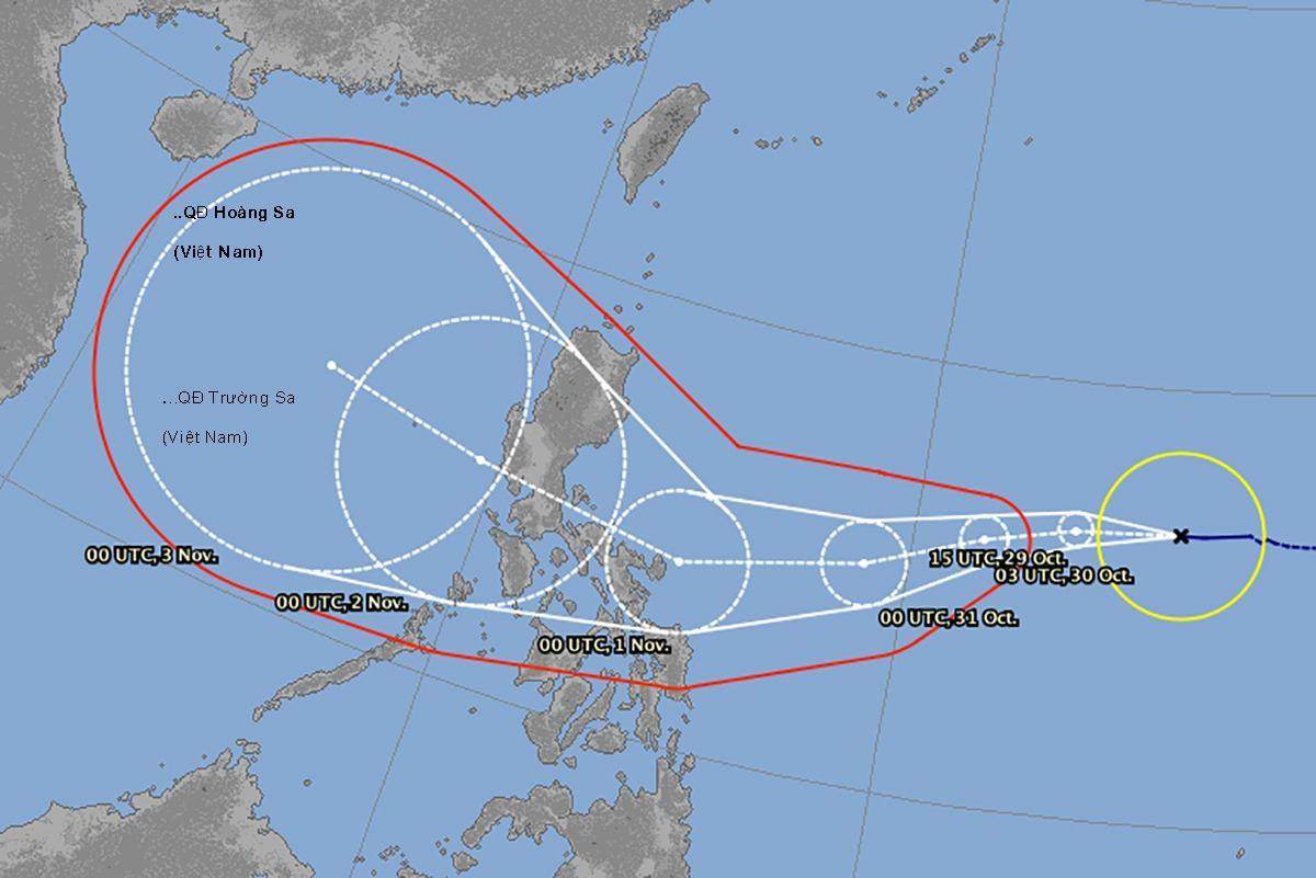 Đường di chuyển dự kiến của bão Goni hôm 29/10. Ảnh: Đài Khí tượng Nhật Bản.