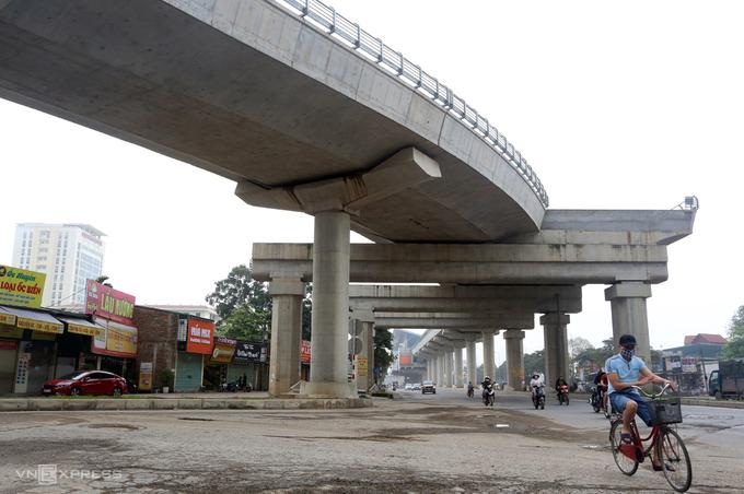 Công trình tuyến metro Nhổn - ga Hà Nội. Ảnh: Bá Đô