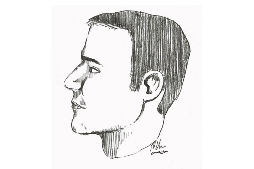 Phác họa chân dung người đàn ông tới nhà bác sĩ William trong ngày xảy ra vụ án mạng. Ảnh: Omaha World-Herald.