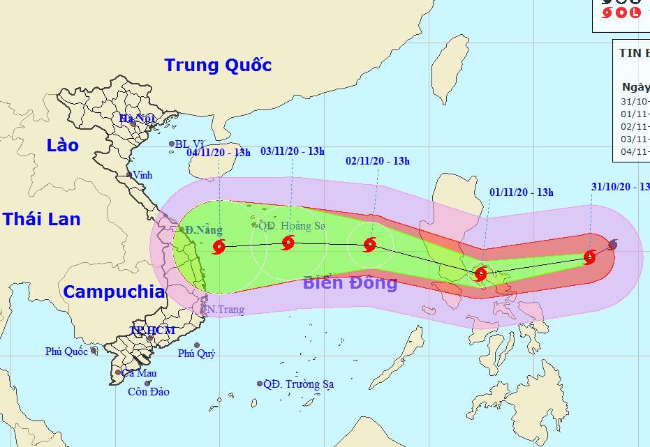 Dự kiến đường đi và vùng ảnh hưởng của siêu bão Goni. Ảnh: NCHMF