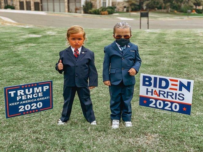Koti (trái) và Haven trong màn hóa trang thành hai ứng viên tổng thống Mỹ. Ảnh: Adrea Garza