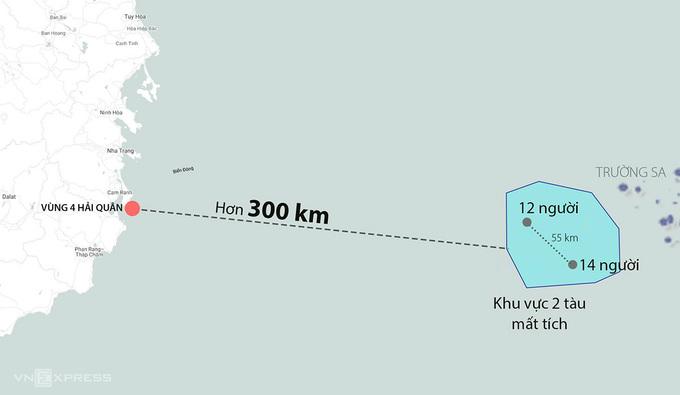 Khu vực hai tàu cá chở 26 người bị chìm. Đồ họa: Khánh Hoàng.