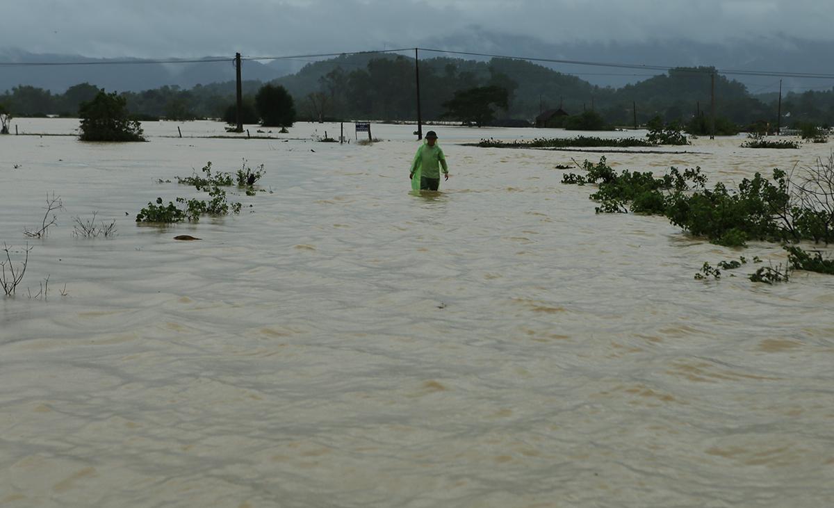 Một đường bê tông ở huyện Thanh Chương bị nước lũ nhấn chìm ngày 31/10. Ảnh: Phương Linh