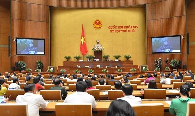 Quốc hội họp tập trung tại Hội trường Diên hồng. Ảnh: Trung tâm báo chí Quốc hội.