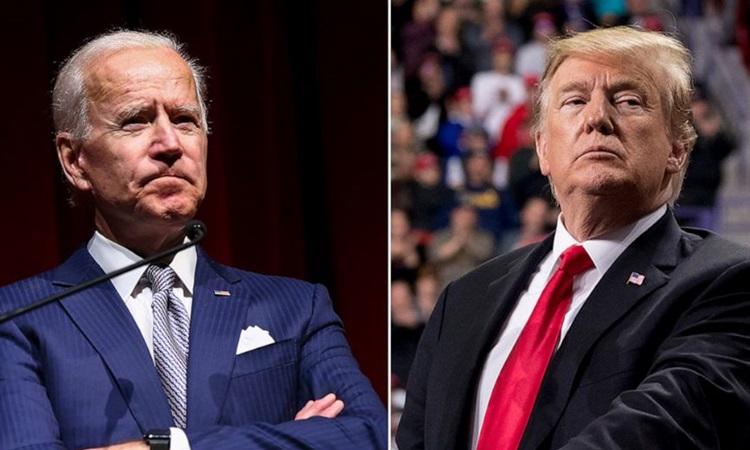 Tổng thống Mỹ Donald Trump (phải) và ứng viên tổng thống đảng Dân chủ Joe Biden. Ảnh: AP.