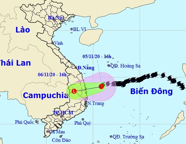 Đường đi của bão số 10 Goni theo dự báo của Trung tâm dự báo Khí tượng thủy văn quốc gia, 17h chiều 5/11. Ảnh: NCHMF