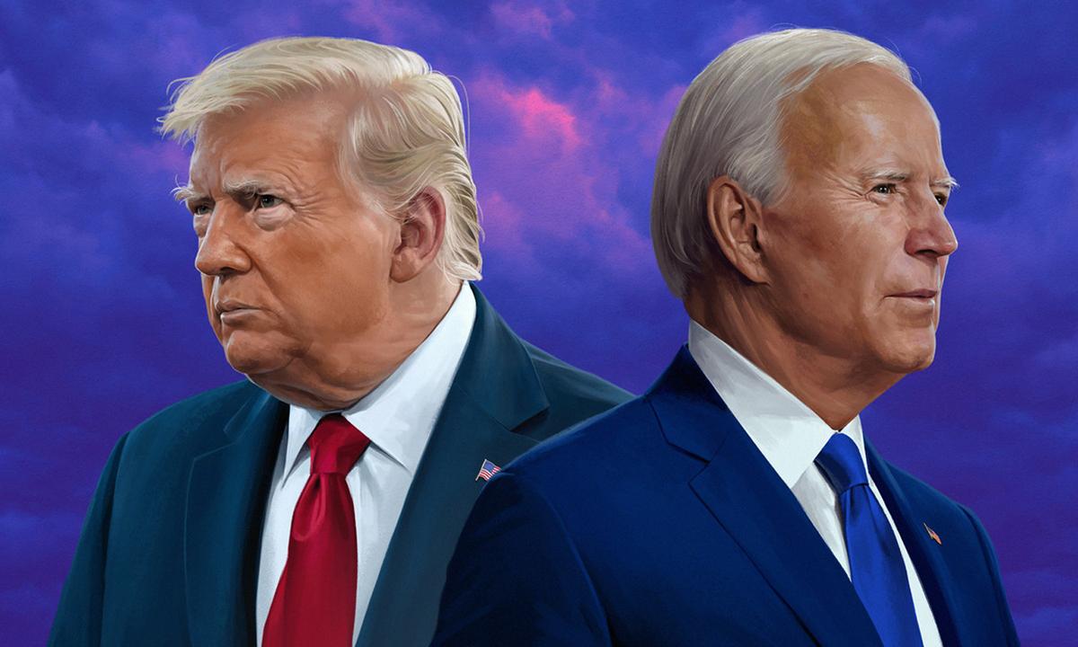 Bức vẽ Tổng thống Donald Trump (trái) và ứng viên Dân chủ Joe Biden của Jeremy Enecio. Ảnh: Politico.