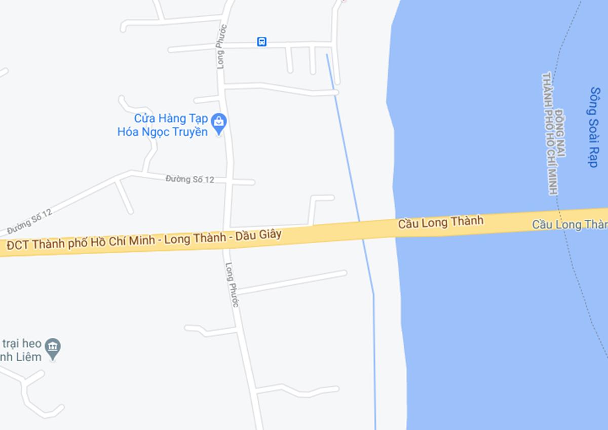 Điểm dự tính kết nối cao tốc TP HCM - Long Thành vào đường Long Phước ở quận 9. Ảnh: Google maps.