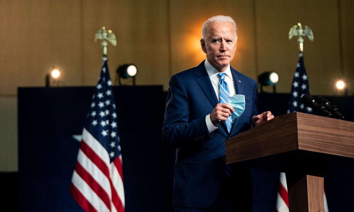 Ứng viên Joe Biden phát biểu tại Wilmington, bang Delaware hôm 4/11. Ảnh: NYTimes.