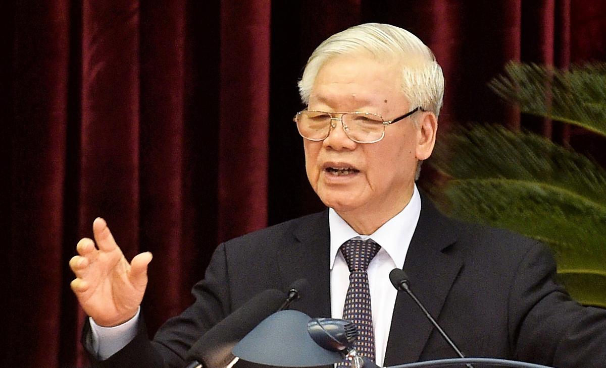 Tổng bí thư, Chủ tịch nước Nguyễn Phú Trọng phát biểu bế mạc Hội nghị Trung ương 13, sáng 9/10. Ảnh: VGP