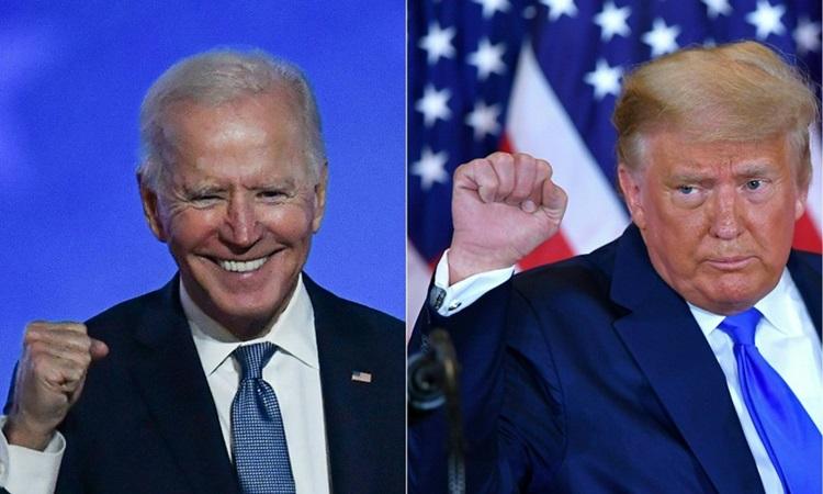 Tổng thống Mỹ Donald Trump (phải) và ứng viên tổng thống đảng Dân chủ Joe Biden. Ảnh: AFP.