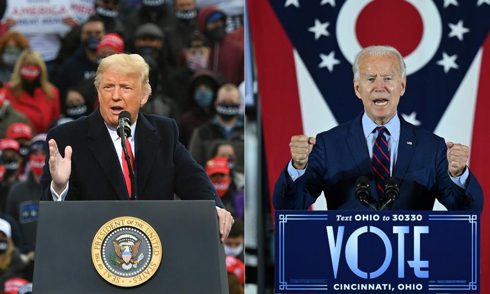 Tổng thống Trump (trái) phát biểu tại New Hampshire hôm 25/10 và ứng viên Dân chủ Biden phát biểu ở Ohio hôm 12/10. Ảnh: AFP.