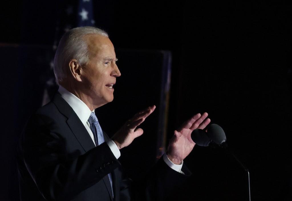 Biden phát biểu trước người ủng hộ tối 7/11. Ảnh: AFP.