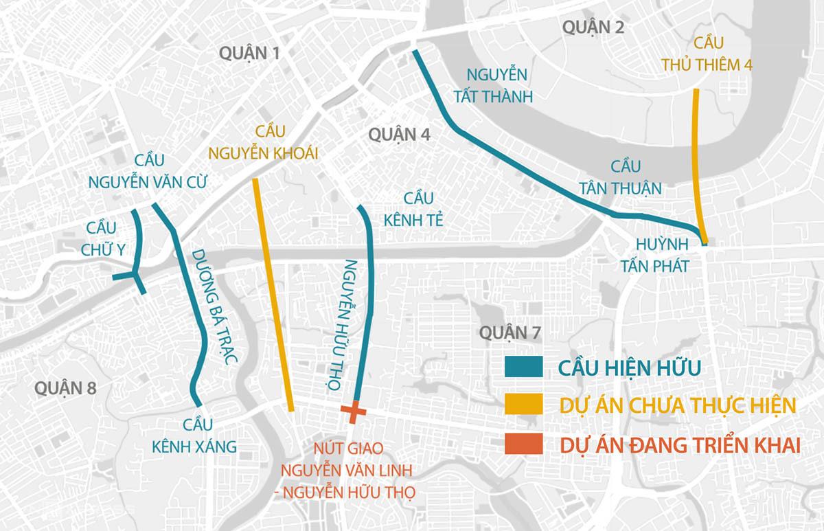 Ba tuyến đường hiện hữu từ quận 7 sang quận 1 và quận 4 đang quá tải. Đồ họa: Thanh Huyền.