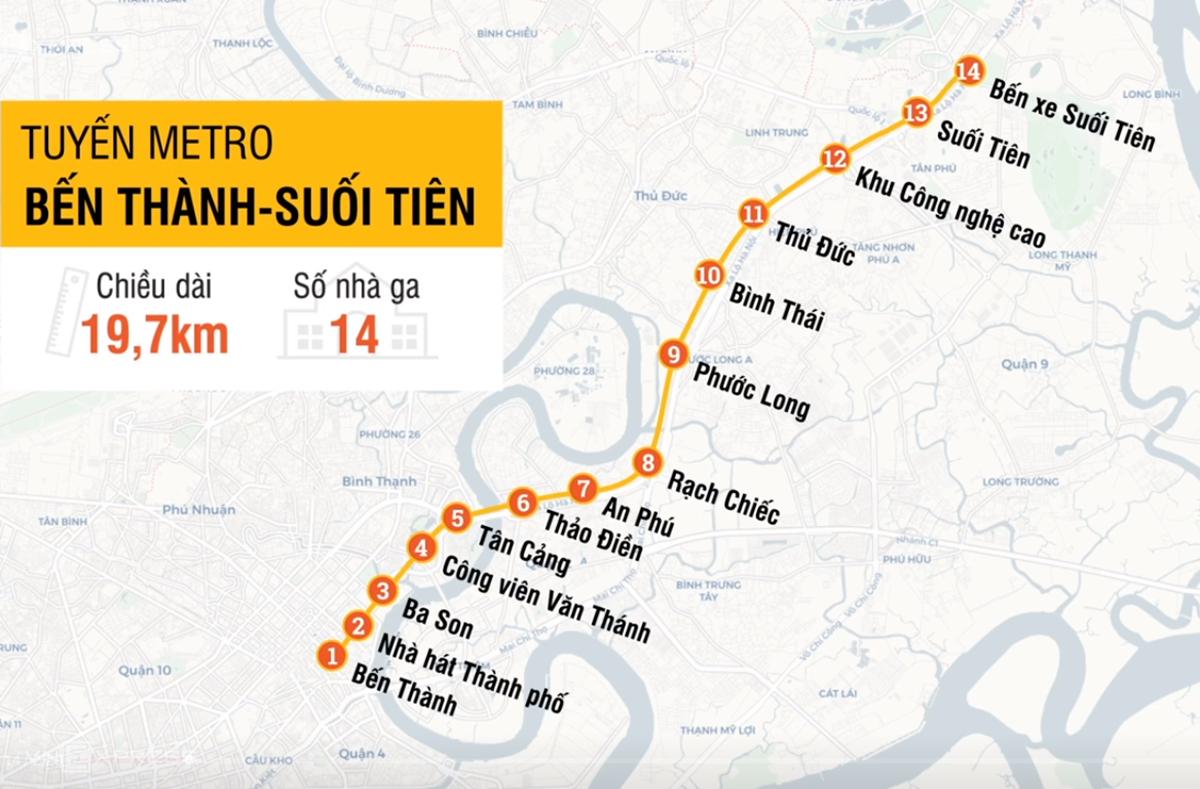 Lộ trình tuyến Metro Bến Thành - Suối Tiên. Đồ họa: Tâm Linh.
