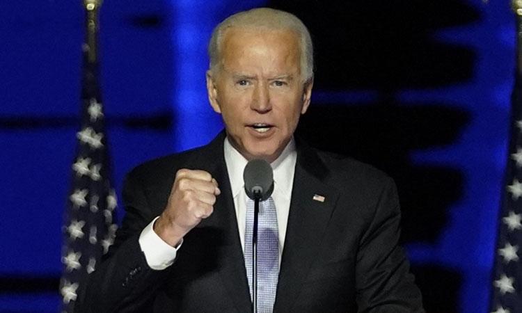 Tổng thống đắc cử Mỹ Joe Biden phát biểu chiến thắng tại Wilmington, Delaware hôm 7/11. Ảnh: AFP.