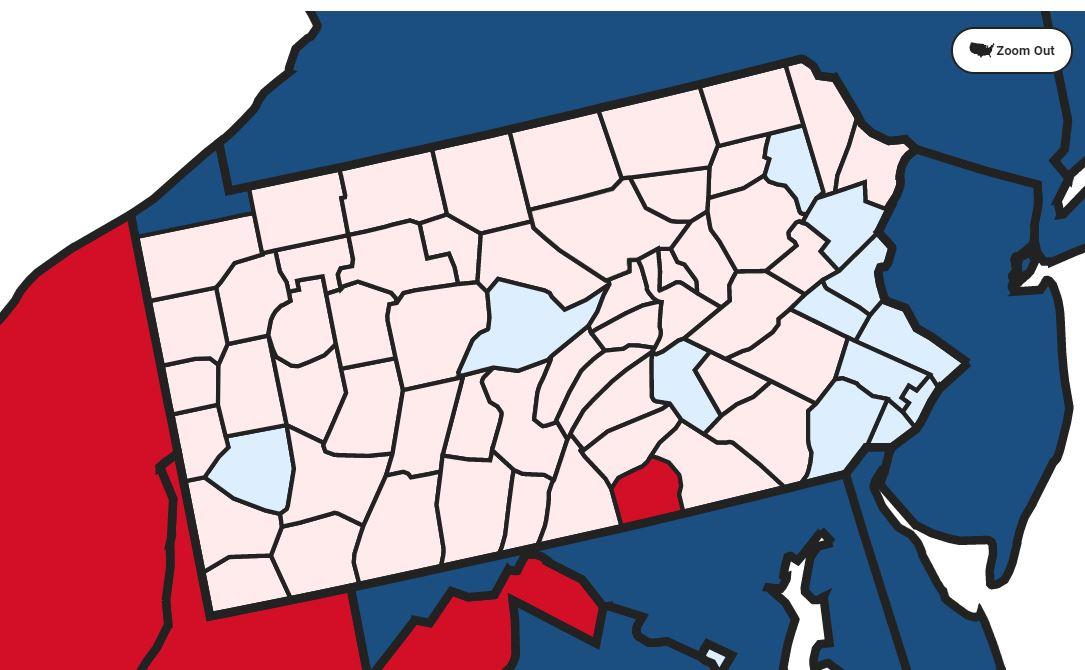 Đa số hạt ở Pennsylvania có kết quả kiểm phiếu nghiêng về Trump (màu hồng), nhưng các hạt đông dân ủng hộ Biden (xanh nhạt) đã khiến ứng viên đảng Dân chủ được xác định là người thắng ở bang này. Ảnh chụp màn hình đồ họa của Fox News.