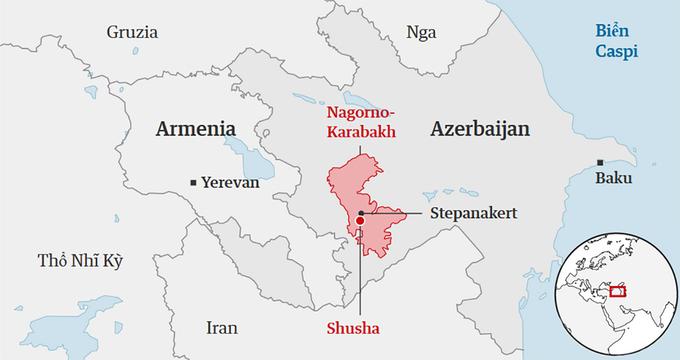Vị trí vùng Nagorno-Karabakh giữa Armenia và Azerbaijan. Đồ họa: Guardian.