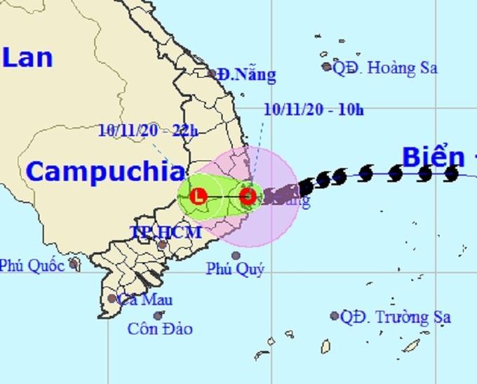 Bão Etau thành áp thấp nhiệt đới, theo dự báo của Trung tâm Khí tượng thủy văn quốc gia, lúc 11h. Ảnh: NCHMF.