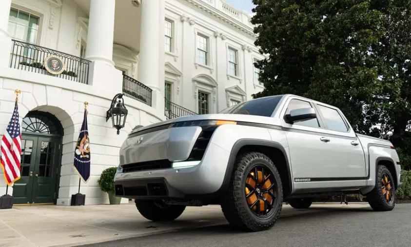 Mẫu bán tải điện của Mỹ, Lordstown Endurance trưng bày tại Nhà Trắng hồi tháng 9. Ảnh: Nhà Trắng