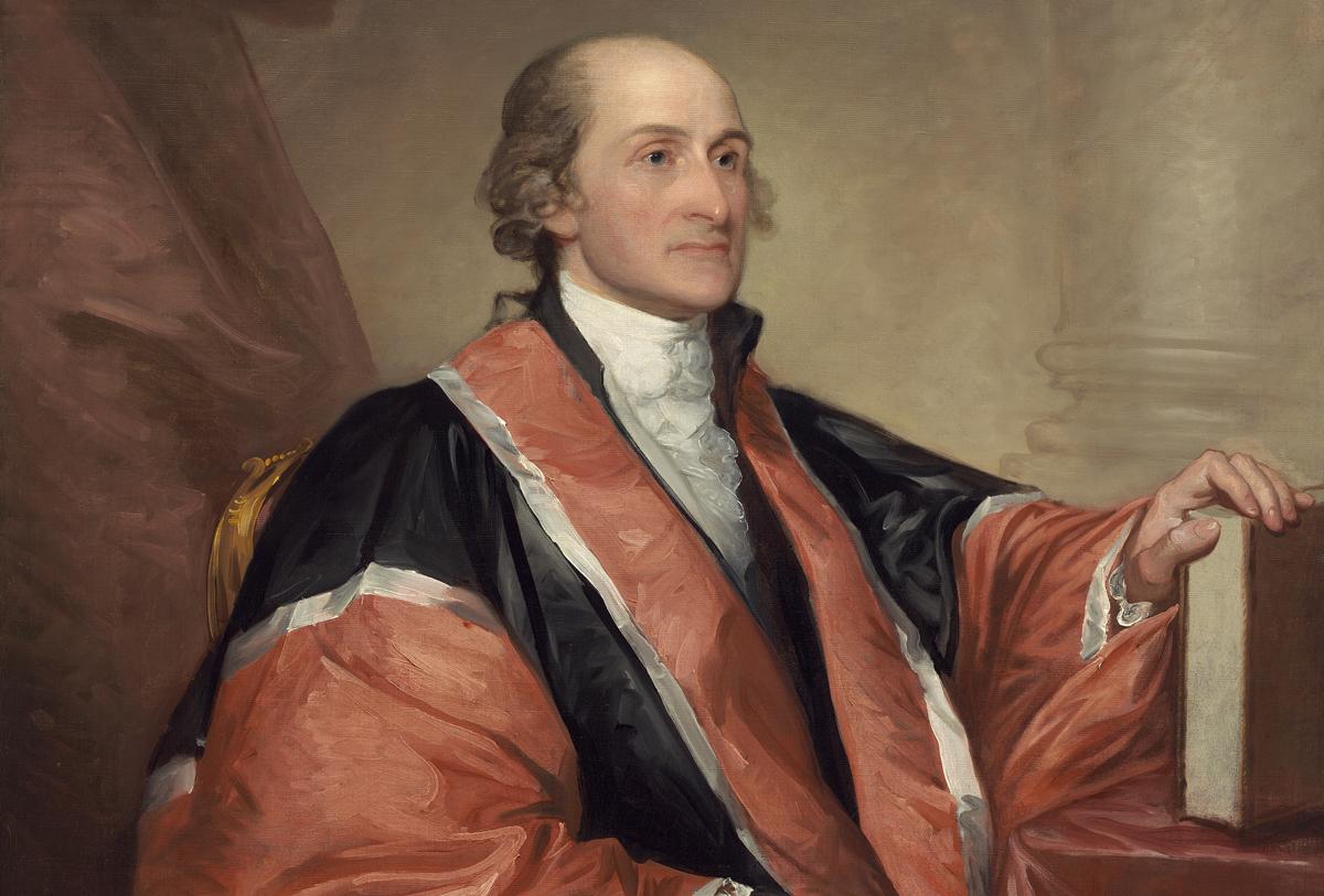 John Jay, chánh án tối cao đầu tiên của Mỹ, được vẽ trong trang phục áo choàng đen, đỏ. Ảnh: Wikimedia Commons.
