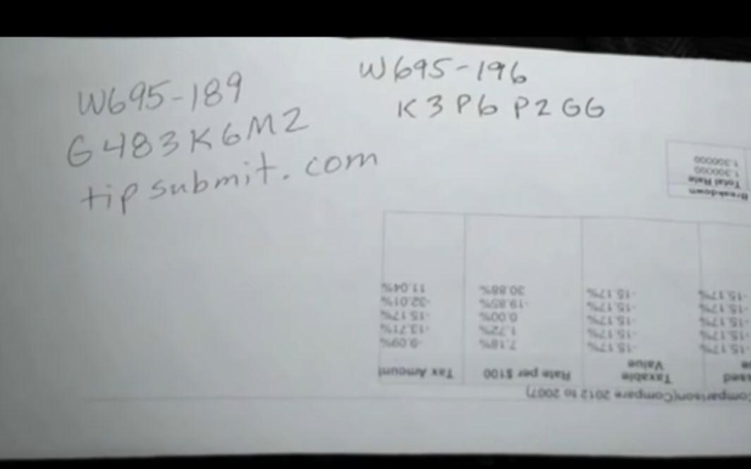 Những dãy số mà người dân sẽ được phát khi báo tin nặc danh được tìm thấy tại nhà Eric Williams. Ảnh: Texas Ranger.
