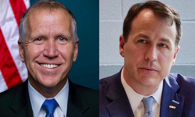 Thượng nghị sĩ Cộng hòa Thom Tillis (trái) và ứng viên đảng Dân chủ chạy đua ghế Thượng viện tại bang Bắc Carolina Cal Cunningham. Ảnh: WITN.