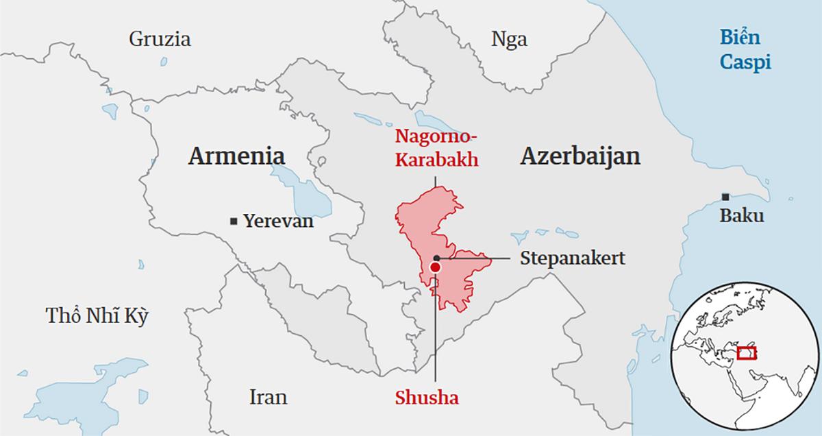 Vị trí thành phố Shusha và vùng Nagorno-Karabakh. Đồ họa: Guardian.