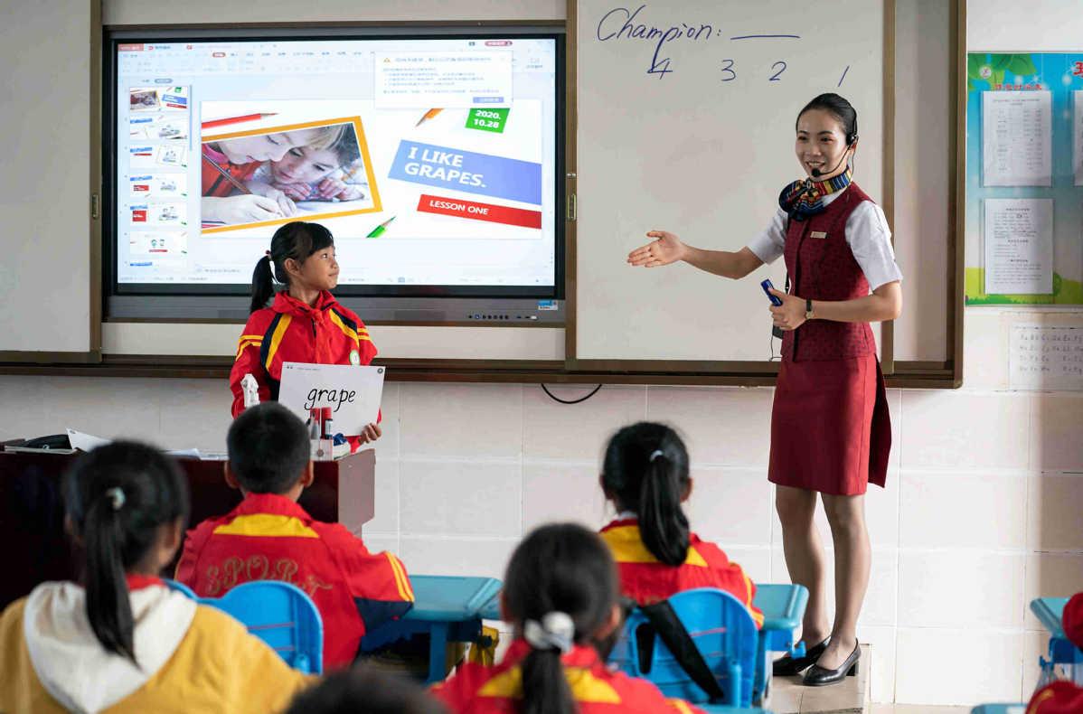 Một tiết học tiếng Anh do Xiao Xia đứng lớp, ngày 28/10. Ảnh: Wan Quan/ China Daily